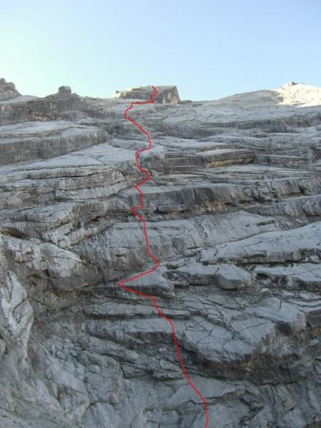 Foto: fliege / Kletter Tour / Lauf Forest lauf VI 4+ A0 / aktueller Routenverlauf nach Sanierung (4 Seill. hat sich verändert),  / 22.08.2009 17:51:47